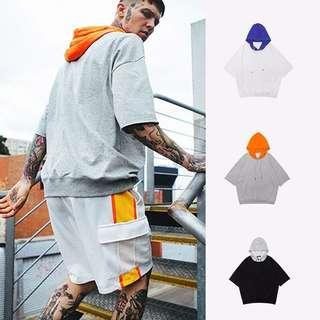 1357 Color Blocked Short Sleeve Hoodie