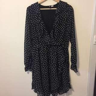 Black Cross Over Polka Dot Dress