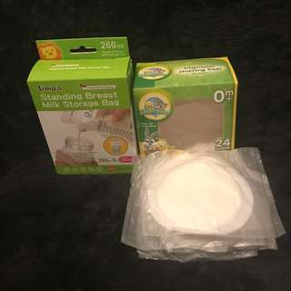 Unused 20 breastmilk storage with 4 disposable nursing Pads ( Take all ) repriced