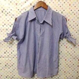 blouse biru putih garis2