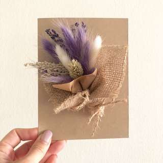 Handmade card with preserved flowers