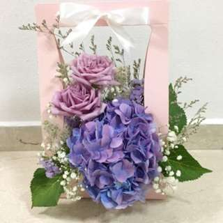 Valentine's Day Bouquet / Bloom Box in Purple Roses with Purple Hydrangeas / Birthday Bouquet
