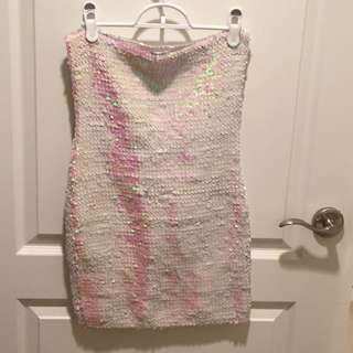 XS/S White Sequin Dress (stretchy)