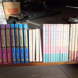 Jin Yong books + comics + solid wood bookshelf
