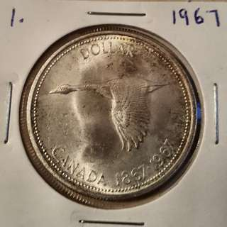 1967 Canadian Silver Dollar in uncurculated or better condition in 2x2 holder.