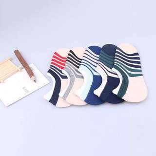 棉男襪子 低幫淺口隱形夏季全棉男船襪 撞色條紋男襪