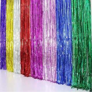 Metallic Fringe Curtain Party Foil Tinsel Home Room Stage Wall Decor Door Decoration Size:1*1m, Silver
