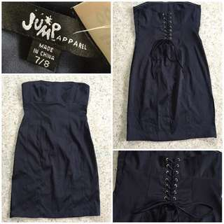 Tube dress w/ tie down details at the back