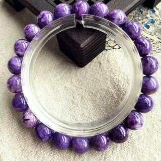 純自然光實拍精品紫龍晶單圈手鏈