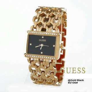 GUESS 2106# (uk2,2x3cm) Quality : Semi premium Material : Stainless Ready 3 colours : - Gold Black - Gold White Lingkaran permata Model Simpel & elegan Free box