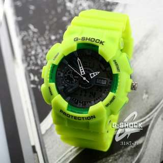 New G-SHOCK 3187-1# Diameter : 4,5cm Display : Analog & Digital  Quality : Semprem Material genuine leather rubber Only 2 colours : - Green - Pink