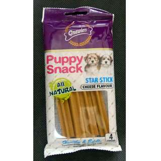Snack Anjing/ Gnawlers Puppy Snack Star Stick Cheese 4pc/ 80gr