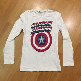 H&M Captain America Long Sleeve T-shirt