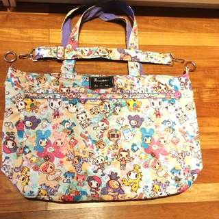 EUC JUJUBE TOKIDOKI perki toki superbe with adjustable sling hobo strap o rings tote bag carryall neverfull