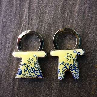 2 Pcs Couple Keychains