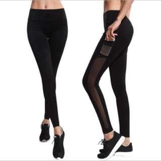 Yoga sports leggings with mesh pocket sides