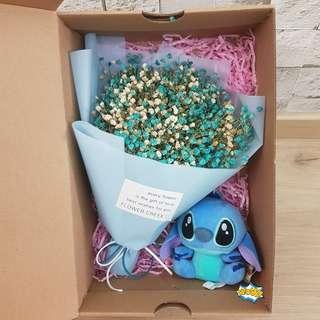 ($39)Baby breath with Stitch Bouquet