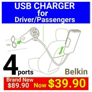 [Brand New] USB CAR CHARGER Designed for Driver/Passengers to charge their phonee/Tablets Simultaneouly (Brand: BELKIN)  Usual Price: $89.90 Today Offer:$ 39.90 ( Brand New In Box & Sealed)