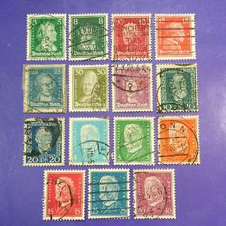 15 pcs Deutsches Reich Germany Used Stamps