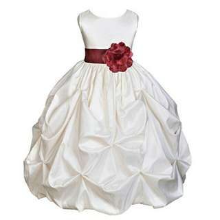 RCSPG010474 - Stereo Flower Ruched Flower Girl Dress