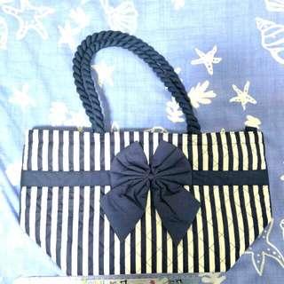 🚚 泰國Naraya藍白條紋大號手提包