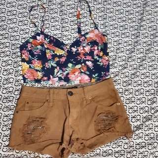 Forever21 Croptop And Rip Shorts