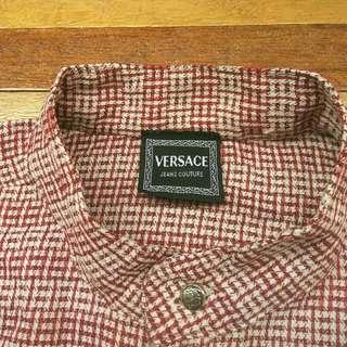 Kemeja VERSACE Grandad Collar Made in Italy Lengan Panjang