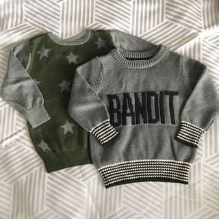 2x Cotton Pn Kids Knitted Jumpers Size 2