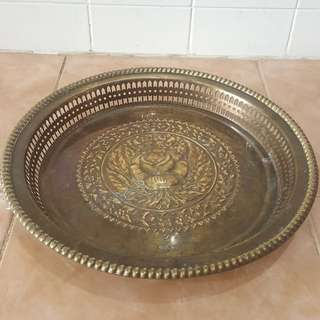 Antique brass tray pahar bunga ros tembaga