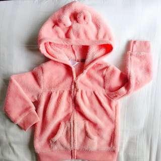 Little Girl Light Pink Hoodie Sweater