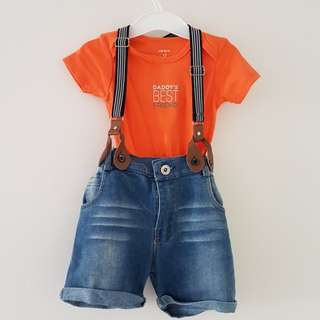 Denim Boy Toddler Dungarees Jumpsuit Shorts Straps