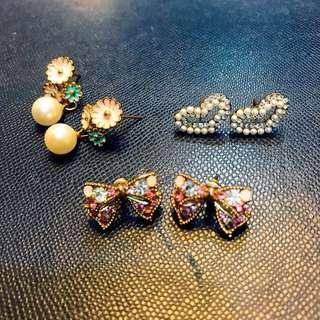 3 pairs of Korean Earrings