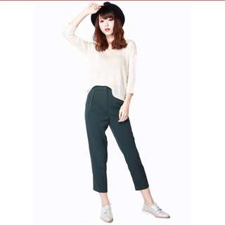 Lucky Strike Cigarette Pants in Forest Green
