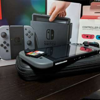 Nintendo Switch with Two Games and Accessories