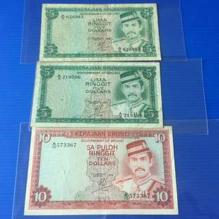 Brunei old note 3pcs $10-1978, $5-1979,1986