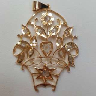 For Sharing only Peranakan Gold Intan Flower Basket Pendant