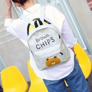 Brown Chips Canvass Back Pack