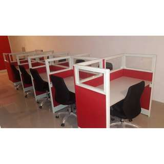 Modular Partitions with glass-Red Fabric-Office Workstation
