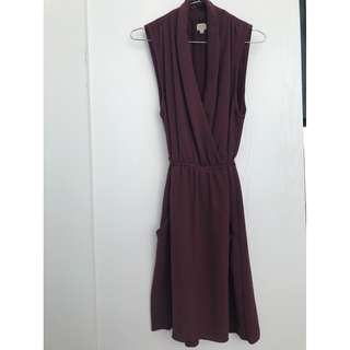 Small Burgundy Aritzia Wilfrid Wrap Dress with Tie
