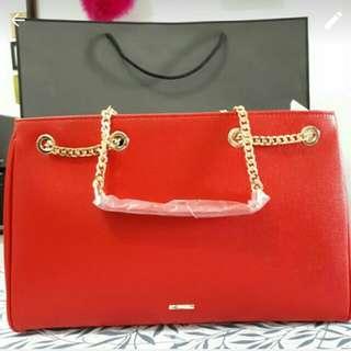 Pedro red large handbag