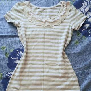 stripe blouse with lace