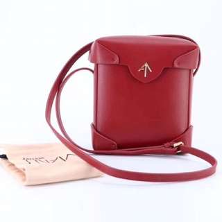 Manu Atelier Leather Pristine Sling bag in Red colour