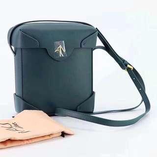 Manu Atelier Leather Pristine Sling bag / Crossbody Bag in Dark green colour