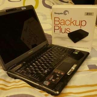Toshiba Laptop + Seagate hard drive 2TB