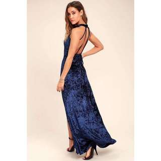 Lulus Navy Blue Velvet Maxi Dress