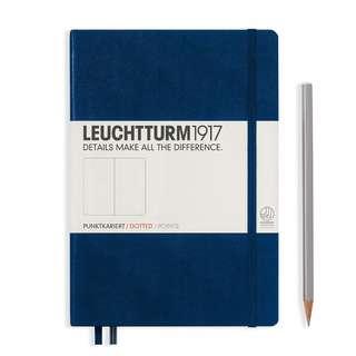 Leuchtturm A5 Medium Hardcover Notebook Dotted/ Ruled Navy (342925)