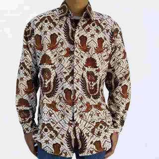 Batik printing kemeja pria tangan panjang