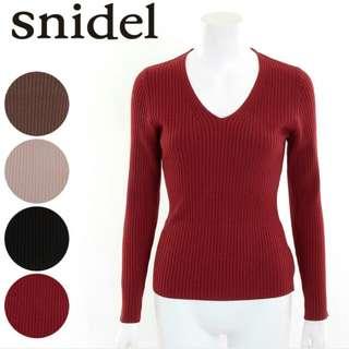 日本 snidel 酒紅色v領針織上衣