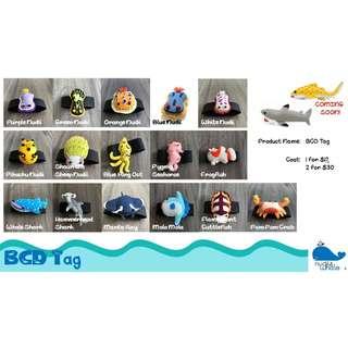Marine Life BCD Tag - Purple Nudii, Green Nudii, Orange Nudii, Blue Nudii, White Nudii, Pikachu Nudii, Sheep Nudii, Blue Ring Octopus, Pygmy Seahorse, Frogfish, Whale Shark, Hammerhead Shark, Manta Ray, Mola Mola, Flamboyant, Pom Pom Crab etc.