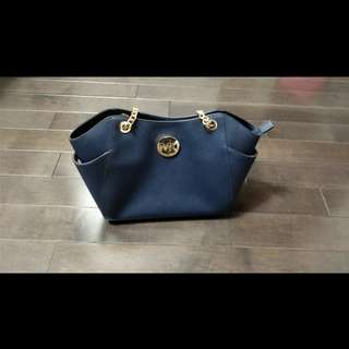 Michael Kors Navy Saffiano Leather Shoulder Bag
